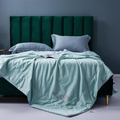 2020新款全棉提花夏凉被纯棉空调被 大豆纤维双人薄被子夏天可水洗夏被 200X230cm 绿色