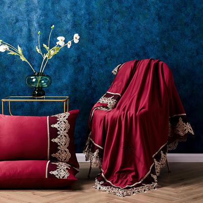 新款法式天丝夏凉被蕾丝空调被芯欧式烫钻莱赛尔夏被 150x200cm 玛瑙红