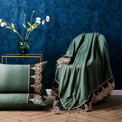 新款法式天丝夏凉被蕾丝空调被芯欧式烫钻莱赛尔夏被 150x200cm 军绿色
