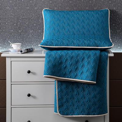 2021新款玻尿酸60S天丝乳胶凉席天丝软席子乳胶席天丝凉席 1.8*2.0m三件套 极光蓝