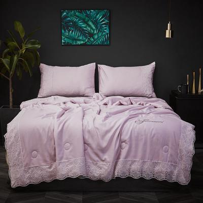 2020新款天丝蕾丝夏被和四件套纯色夏凉被天丝空调被芯 夏被150x200cm 浅紫色