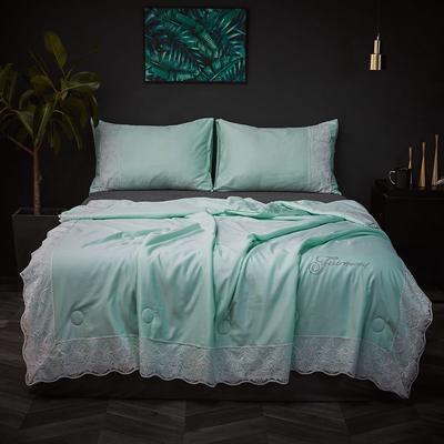 2020新款天丝蕾丝夏被和四件套纯色夏凉被天丝空调被芯 夏被150x200cm 水绿色