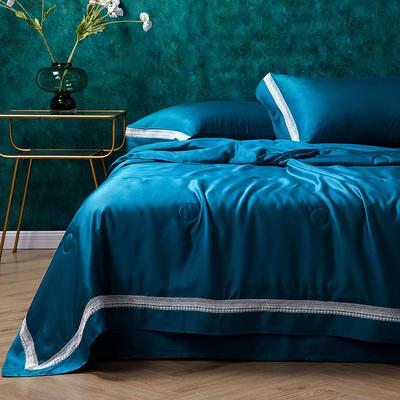 新款天丝玻尿酸夏被莱赛尔夏凉被镂空空调被芯天丝夏被四件套 夏被200*230cm 极光蓝