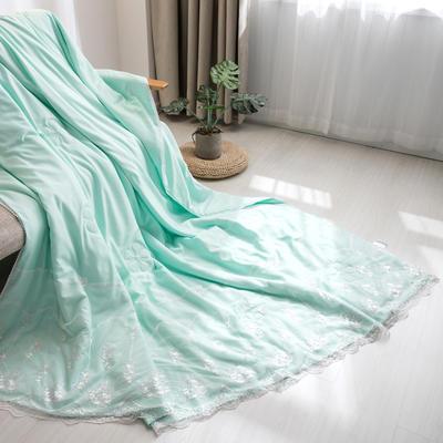 新款韩式蕾丝夏被天丝空调被夏凉被四件套 夏被150x200cm 梦露-水绿