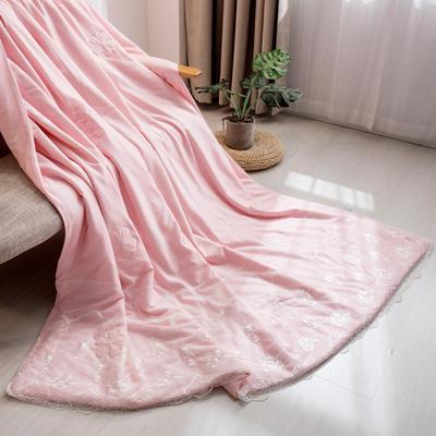 新款韩式蕾丝夏被天丝空调被夏凉被四件套 夏被150x200cm 梦露-粉玉