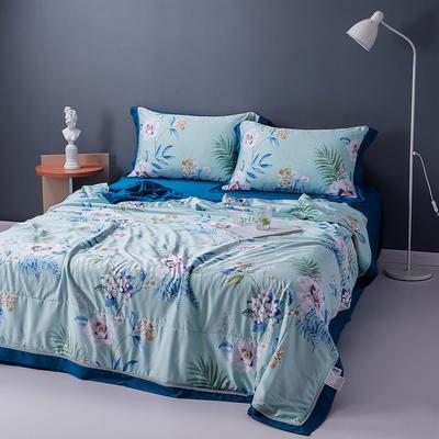 2020天丝镂空夏凉被空调被床单枕套天丝夏被四件套 夏被200X230cm 花意蓝