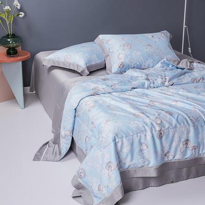 2020天丝镂空夏凉被空调被床单枕套天丝夏被四件套 夏被200X230cm 蘑菇蓝