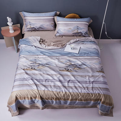 2020天丝镂空夏凉被空调被床单枕套天丝夏被四件套 夏被200X230cm 水墨江南