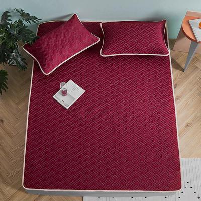 新款玻尿酸乳胶凉席天丝乳胶席水洗乳胶天丝凉席子 1.8m(6英尺)床 乳胶席-酒红