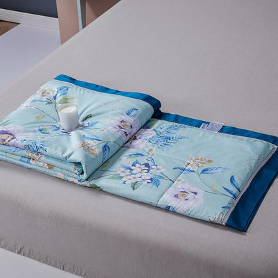 2020新品天丝镂空夏被天丝空调被芯床单款夏凉被天丝四件套 200x230cm夏被四件套 花意蓝
