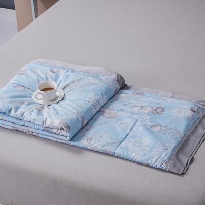 2020新品天丝镂空夏被天丝空调被芯床单款夏凉被天丝四件套 200x230cm夏被四件套 蘑菇蓝