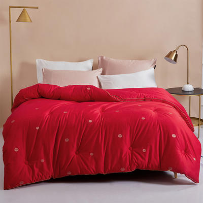 2020新款结婚被子喜被新婚庆被芯冬被床上用品大红色新婚房春秋被陪嫁棉被 200x230cm7斤 红色