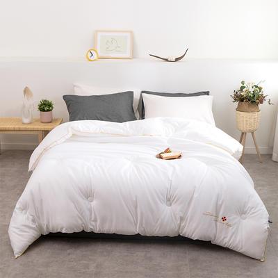 2020新款-简约全棉纯色春秋被加厚保暖秋冬被子单人双人纯棉被芯 150x200cm4.3斤 艾莎白