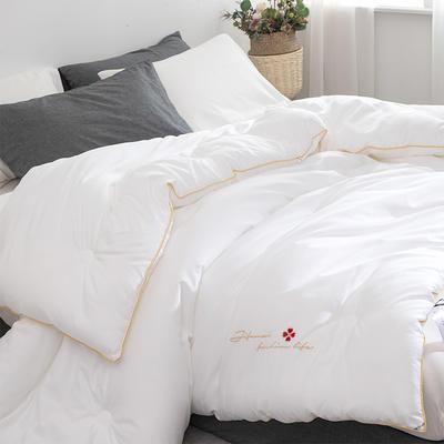 2020款被子全棉冬被纯棉被子 绣花春秋被芯抗菌棉被 200x230cm重约5斤 艾莎-白