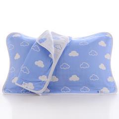 2018新款纯棉六层枕巾 蓝云朵枕巾(50*80cm/对)