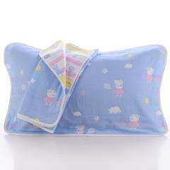 2018新款纯棉六层枕巾 佩奇蓝枕巾(50*80cm/对)