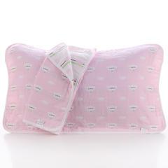 2018新款纯棉六层枕巾 云朵笑脸粉枕巾(50*80cm/对)