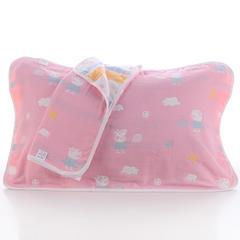 2018新款纯棉六层枕巾 彩云粉枕巾(50*80cm/对)