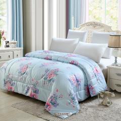 18年韩香绸仿丝绸大版花冬被蚕丝被被子被芯 1.5*2米   6斤 国色天香-兰