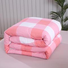 致臻水星无印良品风格水洗棉冬被 被子被芯单人双人被子 150x200cm   6斤 粉大格