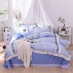 60支贡缎长绒棉系列四件套(圣托里尼) 含芯糖果枕  直径15cm长50cm 圣托里尼