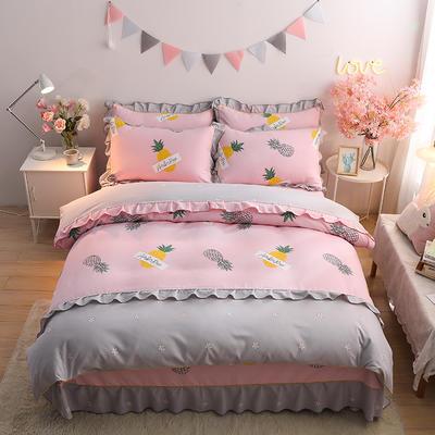 2020新款-韩版金边床裙款木棉四件套 床裙款四件套1.8m(6英尺)床 菠萝派对-粉