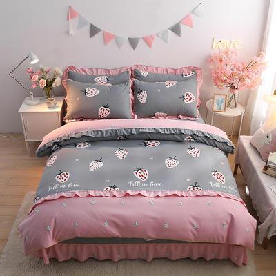 2020新款-韩版金边床裙款木棉四件套 床裙款四件套1.8m(6英尺)床 草莓布丁