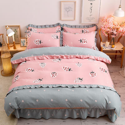 2020新款-韩版金边床裙款木棉四件套 床裙款四件套1.8m(6英尺)床 草莓布丁-粉