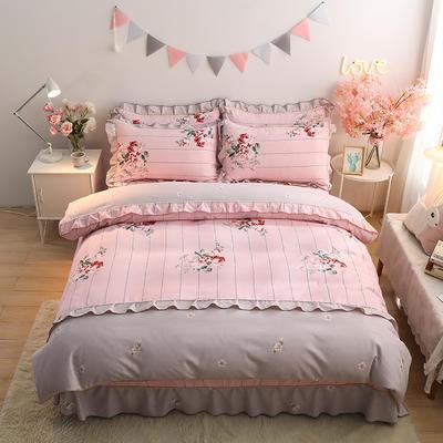 2020新款-韩版金边床裙款木棉四件套 床裙款四件套1.8m(6英尺)床 粉黛花香-粉