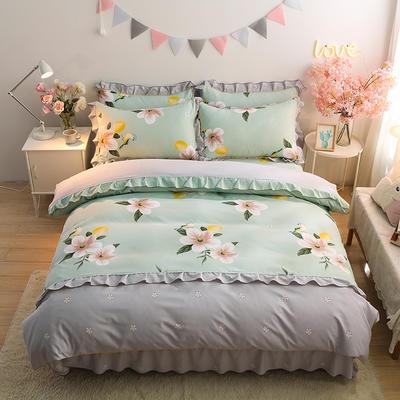 2020新款-韩版金边床裙款木棉四件套 床裙款四件套1.8m(6英尺)床 可可佳人-绿