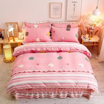 2020新款-韩版金边床裙款木棉四件套 床裙款四件套1.8m(6英尺)床 苹果酱-粉