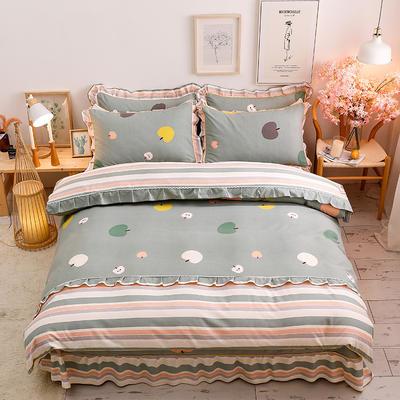 2020新款-韩版金边床裙款木棉四件套 床裙款四件套1.8m(6英尺)床 苹果酱-绿