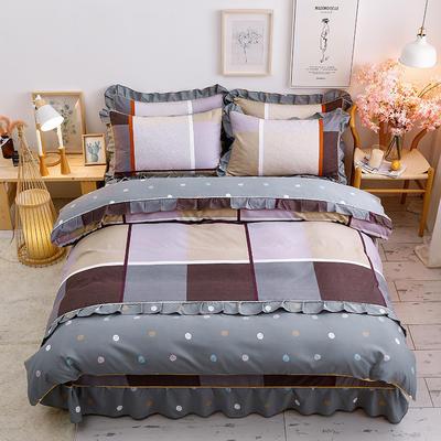 2020新款-韩版金边床裙款木棉四件套 床裙款四件套1.8m(6英尺)床 敲响乐章
