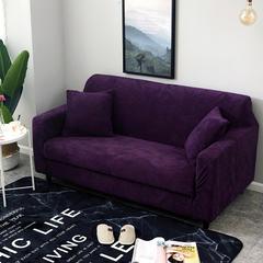2017冬季毛绒弹力沙发套 四人(230-300cm) 紫色
