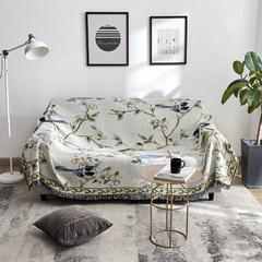 2018新款-故徕线毯沙发巾(花鸟) 90*90cm 花鸟