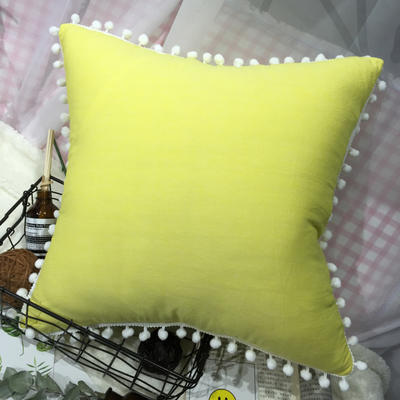 2020新款水洗棉纯色方垫 抱枕含芯(50*50) 荧光黄方垫