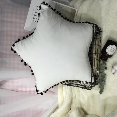 2020新款水洗棉五角星垫 抱枕含芯(50*50) 牛奶白五角星垫