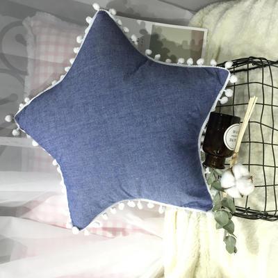 2020新款水洗棉五角星垫 抱枕含芯(50*50) 牛仔蓝五角星垫