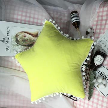 水洗棉五角星垫 抱枕含芯(50*50) 荧光黄五角星垫