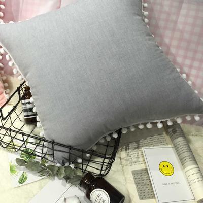 2020新款水洗棉纯色方垫 抱枕含芯(50*50) 淑女银方垫