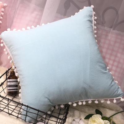 2020新款水洗棉纯色方垫 抱枕含芯(50*50) 天空蓝方垫