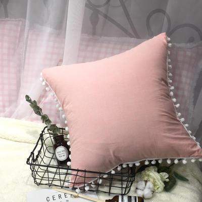 2020新款水洗棉纯色方垫 抱枕含芯(50*50) 樱花粉方垫