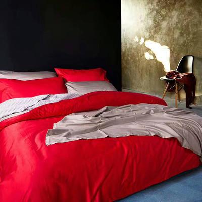 60纯色长绒棉系列四件套 标准(1.5m-1.8m床) 珊瑚红