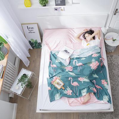 2019纯棉隔脏睡袋新品 火烈鸟青160*210cm