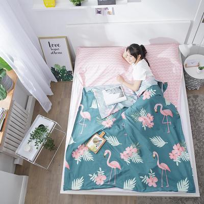 2020纯棉隔脏睡袋新品 火烈鸟青200*210cm