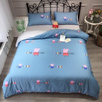 2020新款13372可爱卡通三件套 小号1.2m床 小猪佩奇蓝