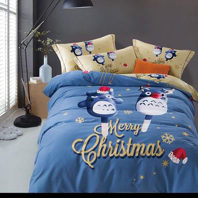 2018新款全棉活性生态磨毛四件套-电子图 1.8m(6英尺)床 圣诞龙猫