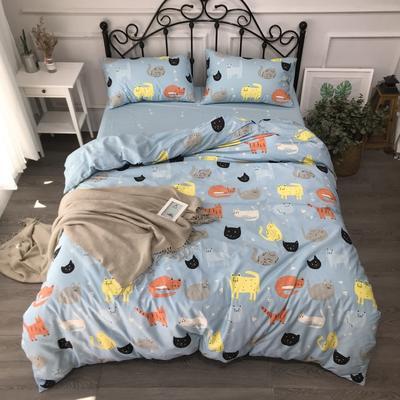 2019年全棉13372精梳棉四件套-卡通系 1.2m(4英尺)床 猫咪宝贝