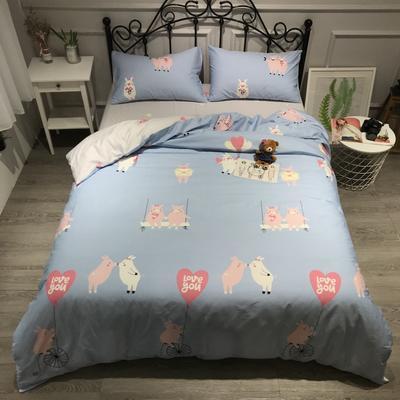 2019年全棉13372精梳棉四件套-卡通系 1.2m(4英尺)床 小猪绅士