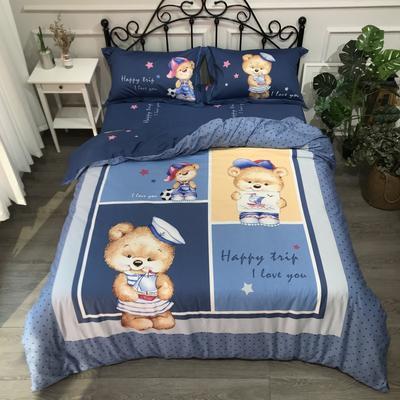 2019年全棉13372精梳棉四件套-卡通系 1.2m(4英尺)床 熊之家蓝